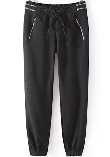 Pantalón cremallera cintura elástica-negro