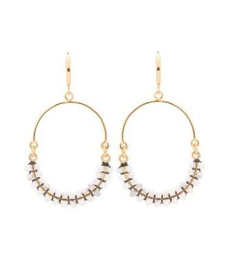 beaded earrings hoop earrings white jewels