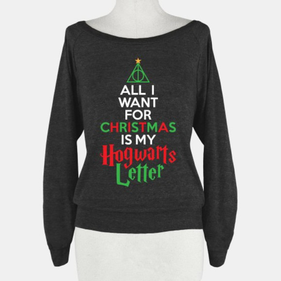 black black sweater harry potter harry potter sweatshirt hogwarts hogwarts sweatshirt christmas quote on it