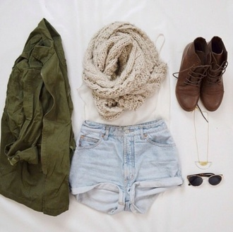 scarf summer combat boots shorts jacket sunglasses necklace tank top shoes