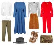 blogger,hat,skirt,jumpsuit,military style,heels,denim dress,white blouse,striped shirt,khaki pants