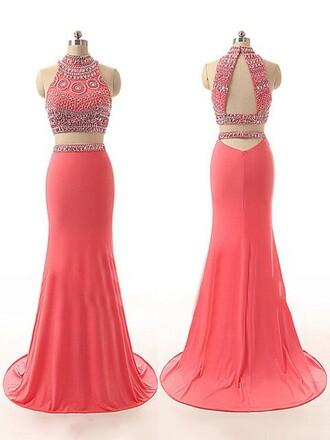 dress formal prom fashion gown elegant coral two piece dress set beautiful trendy dressofgirl