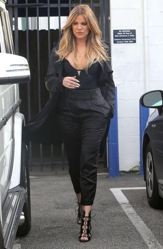 pants bodysuit khloe kardashian all black everything sandal heels sandals top shoes