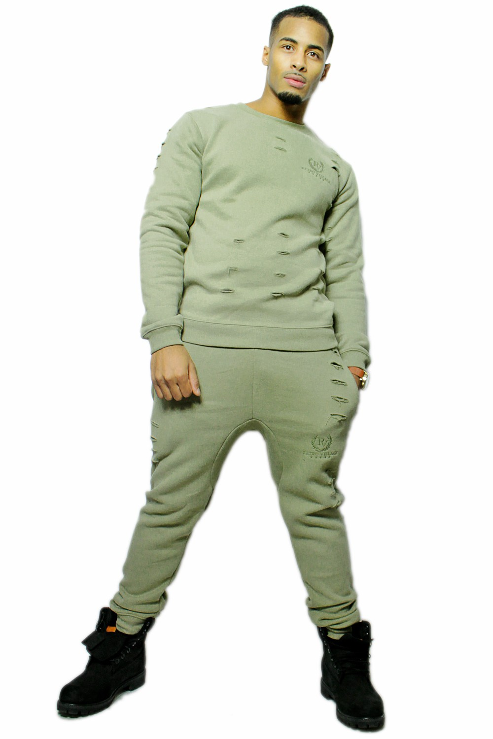 RetroVillage - Retro Kanye Distressed ripped effect Tracksuit - Tracksuit - Men