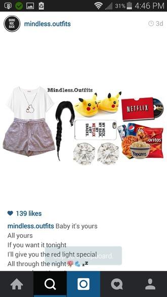 shorts netflix tshirt. pokemon shoes snacks iphone cover disney jewels cool fashion blogger