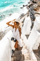 mexiquer,blogger,dress,bag,shoes,summer outfits,summer dress,sun hat,crossbody bag,sandals