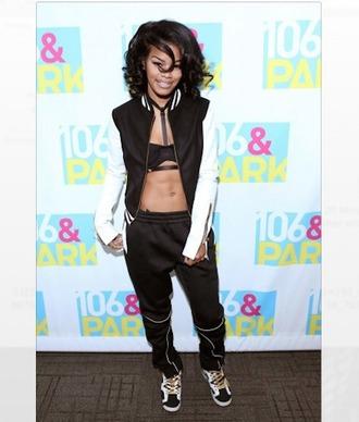 pants top trill dope black jordans bralette black jacket curly hair celebrity style zip jacket
