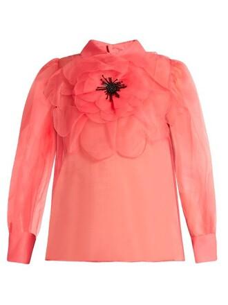 blouse embellished silk pink top