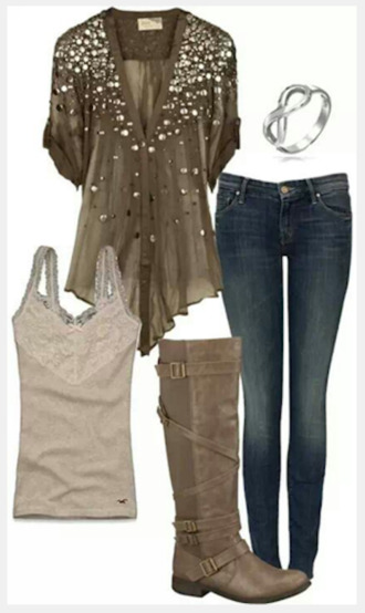 blouse top shirt v neck short sleeved studded blouse jeans pants olive shirt tank top boots buckle boots bracelets infinity bracelet loose fit top clothes outfit