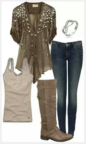 blouse short sleeved shirt clothes top tank top v-neck studded blouse jeans pants olive shirt boots buckle boots bracelet infinity bracelet loose fit top outfit