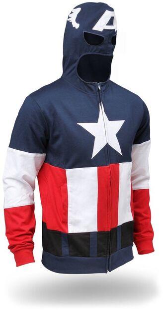 jacket sweatshirt captain america red american flag patriotic super hero trendy mens sweater