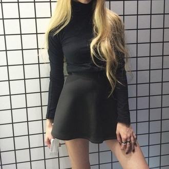 skirt black dress black skirt black top crop tops joanna kuchta turtleneck grunge soft grunge high waisted skirt mini skirt shirt