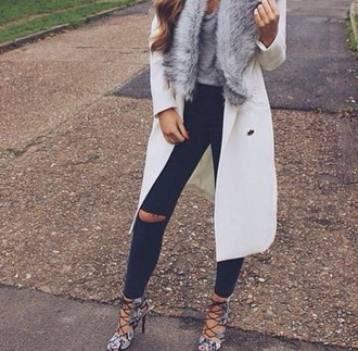 coat classy fall outfits white faux fur