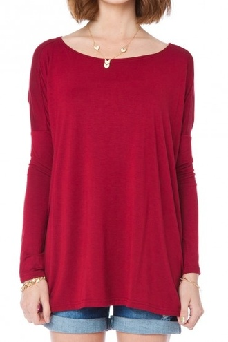 shirt dolman drapy top swing top red top dress burgundy boatneck tunic tunic dress batwing