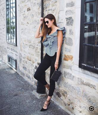 top ruffled top tumblr asymmetrical asymmetrical top ruffle denim jeans black jeans high heels heels pumps shoes