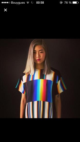 dress rainbow black and white top rainbow dress