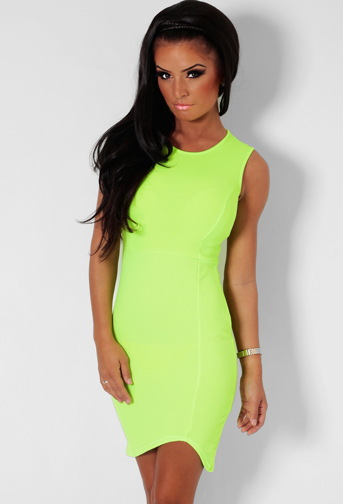 Key Lime Pie Neon Green Bodycon Midi Dress | Pink Boutique