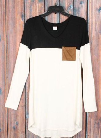 shirt black white long sleeves