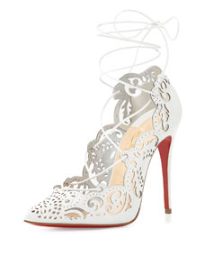 Impera Lace-Up Red Sole Pump, White