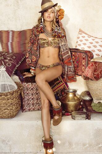 swimwear bandeau bikini cheeky gold pink print tan bikiniluxe