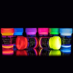 8 x UV Black Light Fabric Paint Washable Textile Paint Dye T-Shirt Clothing Colors Colorful Clothes Neon: Amazon.co.uk: Toys & Games