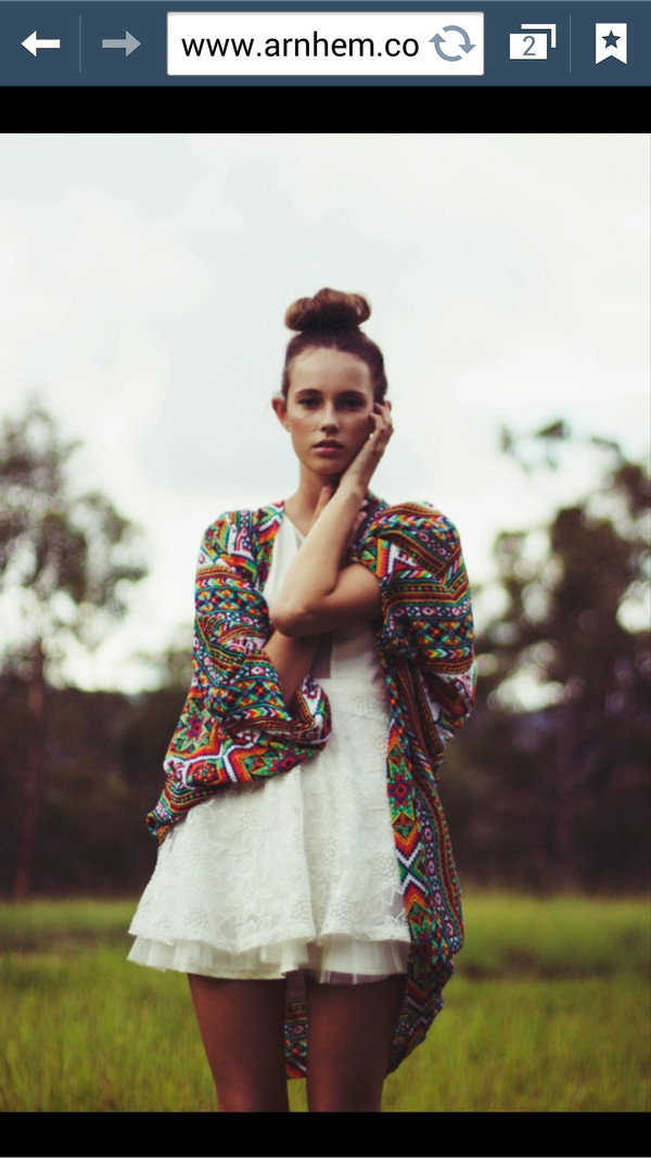 sweater boho tribal pattern colroful vintage