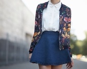 jacket,floral top,floral jacket,denim skirt,white top,peter pan collar,skirt,top,spring jacket,cardigan,floral cardigan,classy,open cardigan,dress