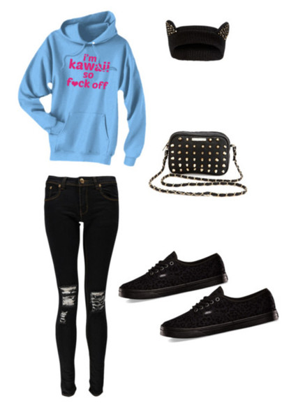 blue hoodie black jeans ripped jeans hat cheetah vans black vans studded purse black hat beanie cat ear hat studded hat ripped black jeans kawaii hoodie pink kawaii fuck off