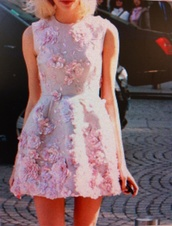 dress,kawaii,floral,3d print,3d flower,pink,pink dress,pastel,pastel pink,couture,prom dress,embroidered