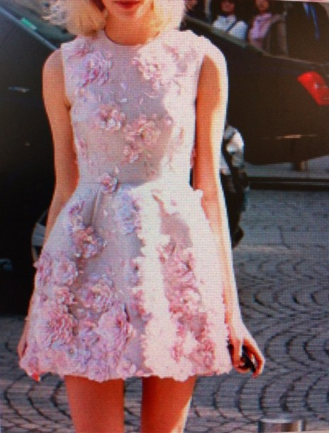 dress kawaii floral 3d print 3d flower pink pink dress pastel pastel pink couture prom dress embroidered