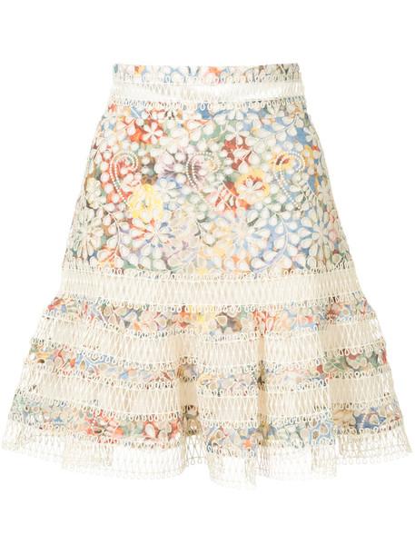 Zimmermann skirt floral skirt embroidered women floral cotton