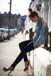 shoes,slingbacks,peep toe,heels,wooden,girl,fashion,jacket,denim,studs,jeans,coat,denim jacket vintage coat,punk,hipster,grunge,any