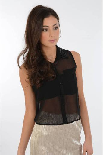 Ladies Janis sleeveless blouse with sequin collar detail in Black | Pop Couture