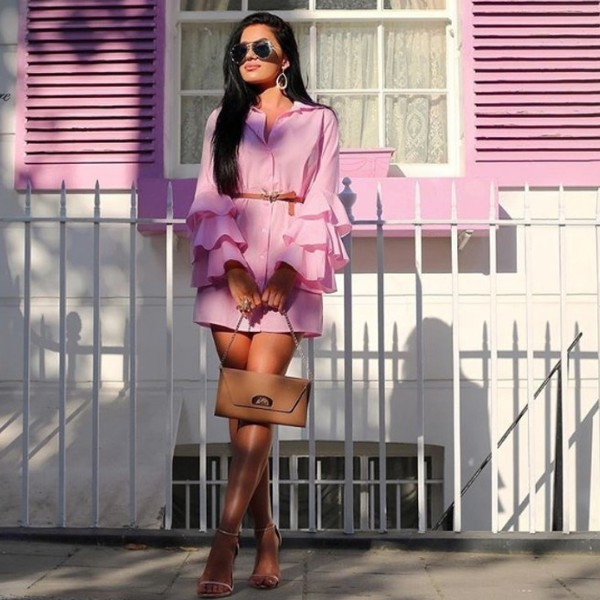 dress plt prettylittlething light pink pink dress mini dress frilly frill sleeves button up summer dress summer outfits