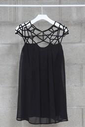 dress,crochet,mikkat market,geometric,cut-out dress,black dress,nastygal