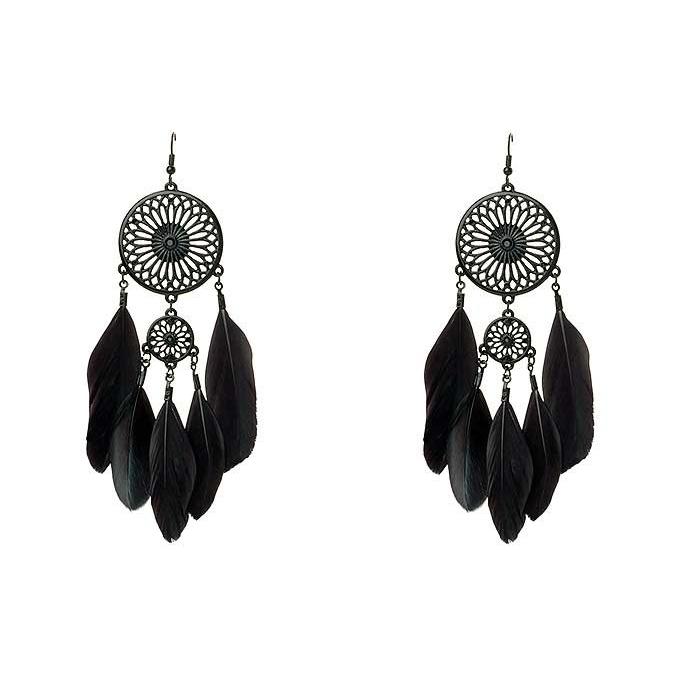 Black Feathers Dreamcatcher earrings | Earrings | In My Dresser