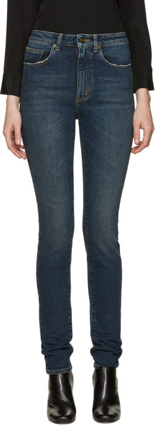 Saint Laurent jeans skinny jeans high blue