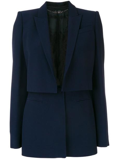 Alexander Mcqueen jacket women lace cotton blue