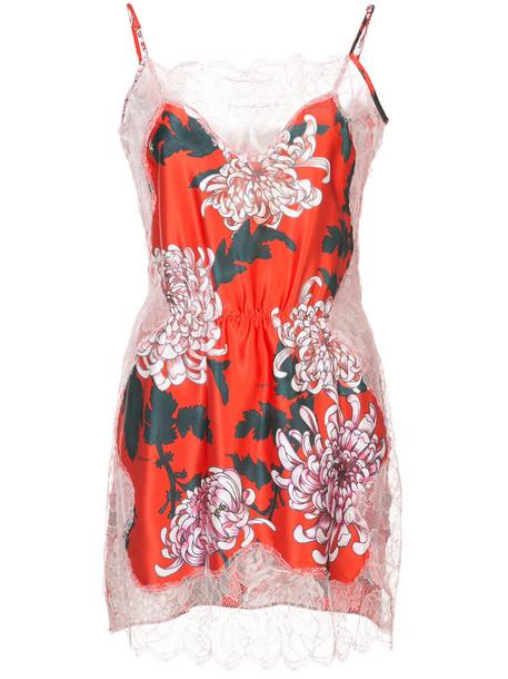 dress slip dress women lace silk red
