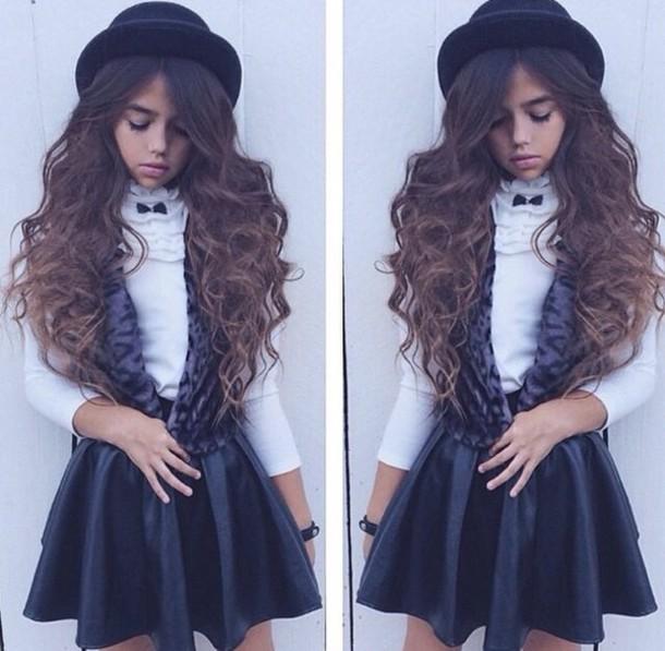 coat vest leopard print leopard print hat fedora fashion leather leather  skirt blouse kids fashion 3d4d6b078881
