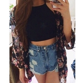 cardigan floral outfit shorts shirt