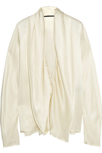 blouse draped silk satin top