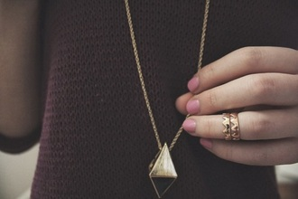 jewels triangle long chain necklace