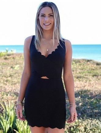 dress girl girly girly wishlist bodycon bodycon dress black black dress scalloped scalloped skirt