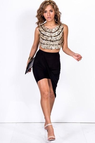 Draped front asymmetrical skirt
