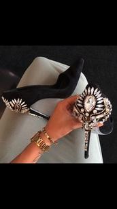 shorts,black high heels,black high heels with jewels,shiny,jewels,rihnstones