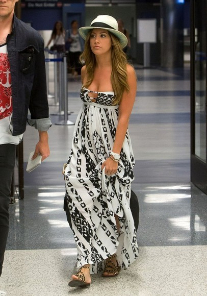 dress ashley tisdale shoes maxi dress black white
