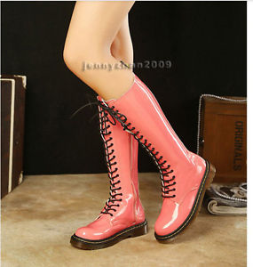 2013 Punk Candy Combat Lace up Flat Shiny PVC Leather Knee High Martin Boots ZIP | eBay