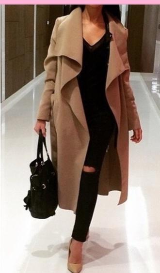 coat beige trench coat tumblr outfit jacket long coat