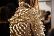 jacket,studs,model,gold spikes,beige,leather